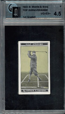 1923 B. Morris and Sons #8 Top Swing/Brassie Golf GAI 4.5