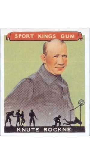 REPRINT 1933 Sport Kings #35 Knute Rockne Football REPRINT