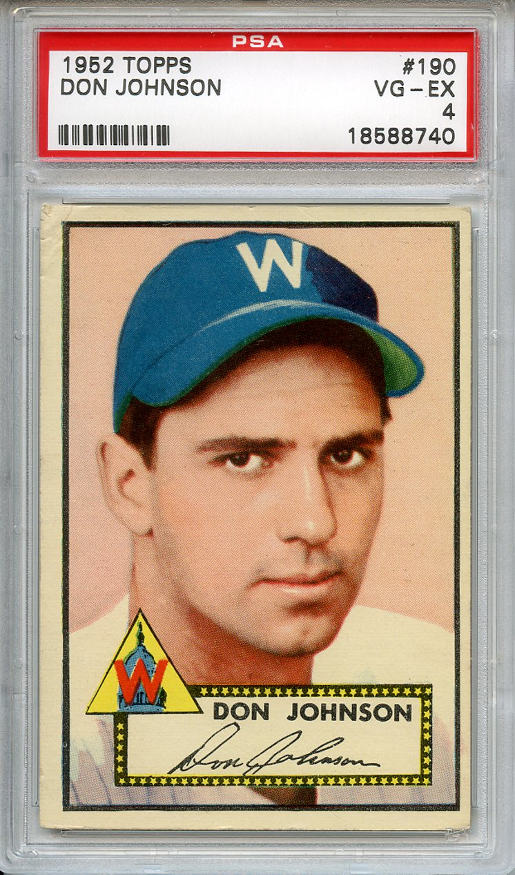 1952 Topps #190 Don Johnson Washington Senators  PSA 4