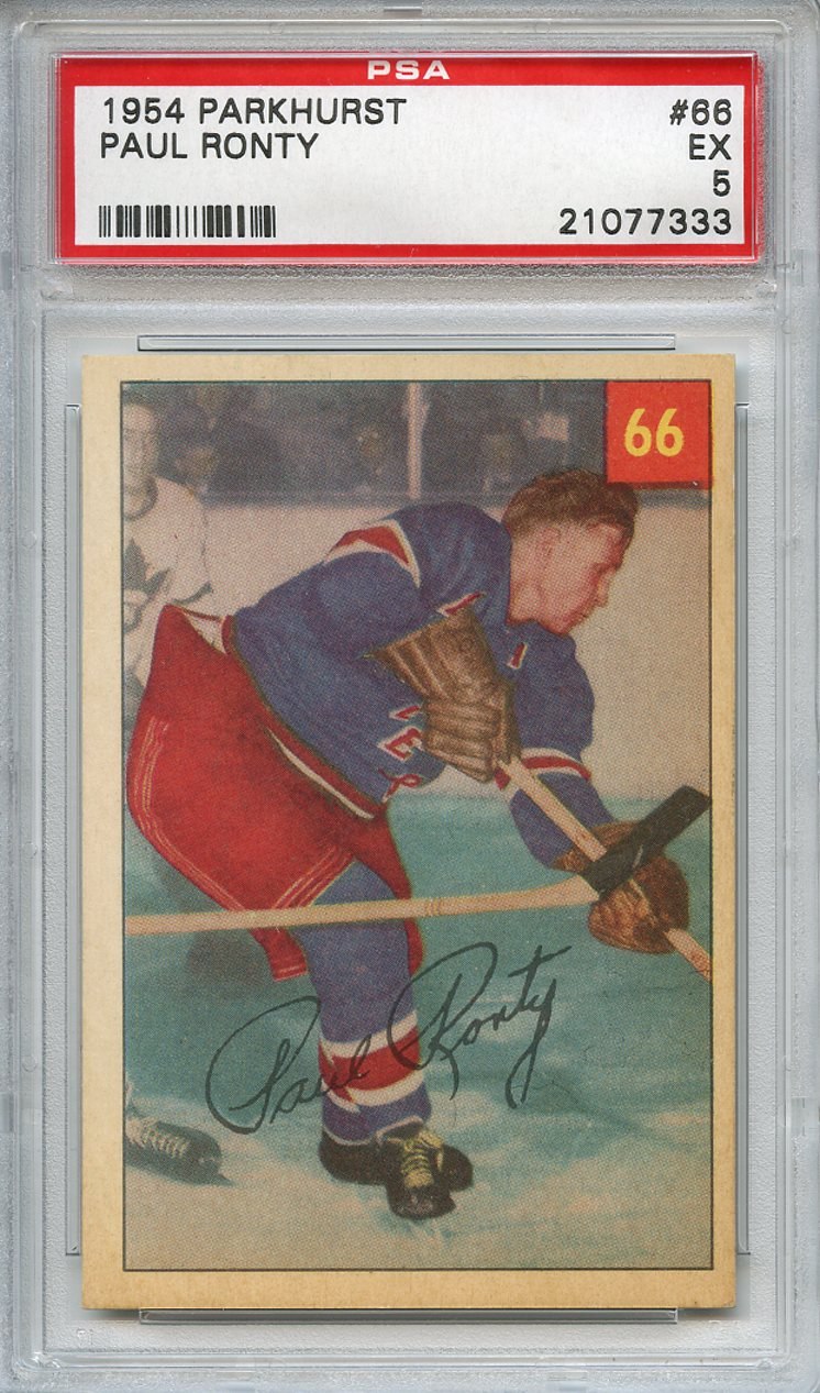 1954 Parkhurst #66 Paul Ronty New York Rangers PSA 5