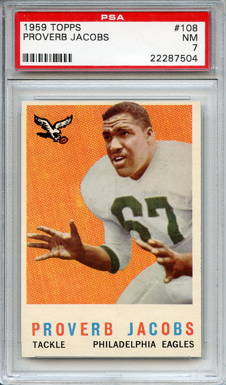 1959 Topps #108 Proverb Jacobs Philadelphia Eagles PSA 7