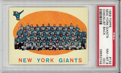 1959 Topps #133 New York Giants Checklist Frank Gifford PSA 8 oc
