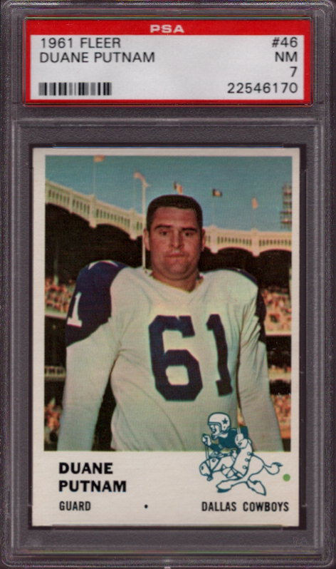 1961 Fleer #46 Duane Putnam Dallas Cowboys PSA 7