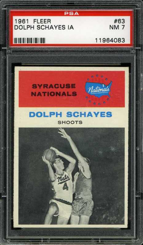 1961 Fleer #63 Dolph Schayes IA HOF Syracuse Nationals PSA 7