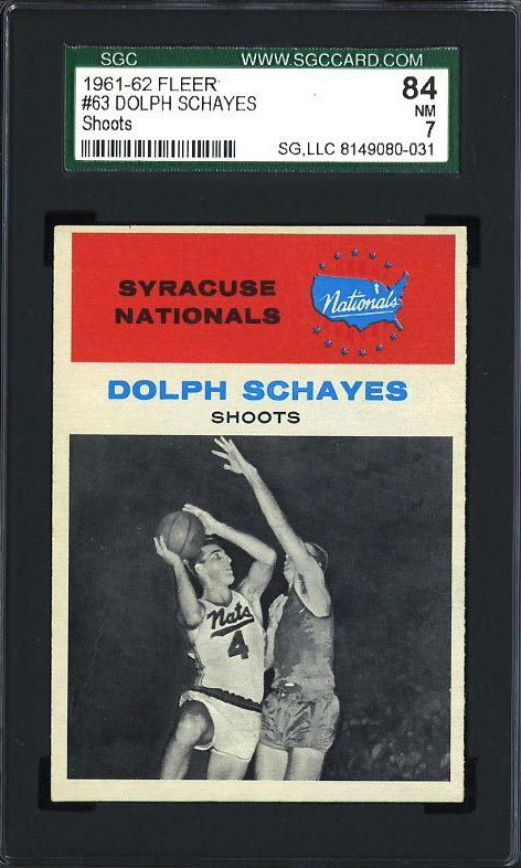 1961 Fleer #63 Dolph Schayes IA HOF Syracuse Nationals SGC 84 PS