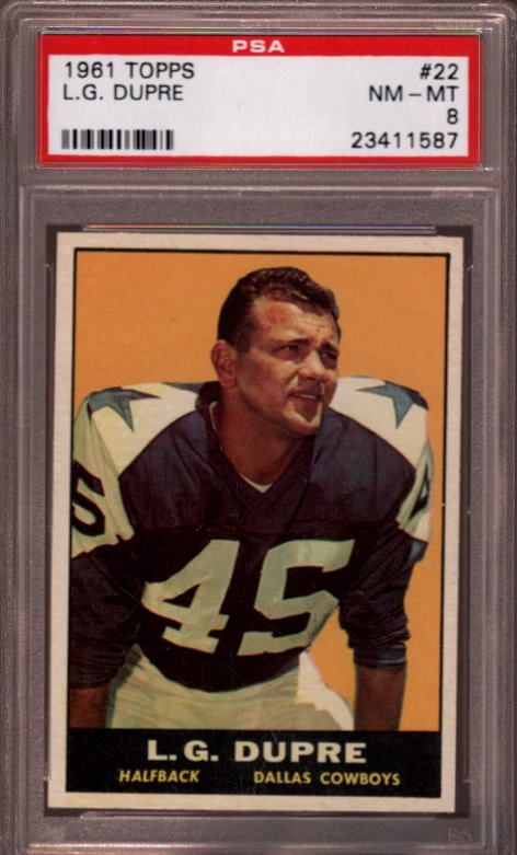 1961 Topps #22 L.G. Dupre Dallas Cowboys PSA 8