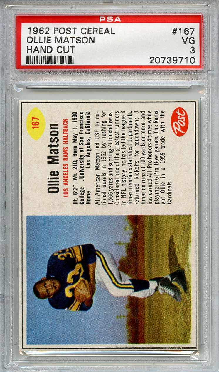 1962 Post Cereal 167 Ollie Matson Los Angeles Rams PSA 3