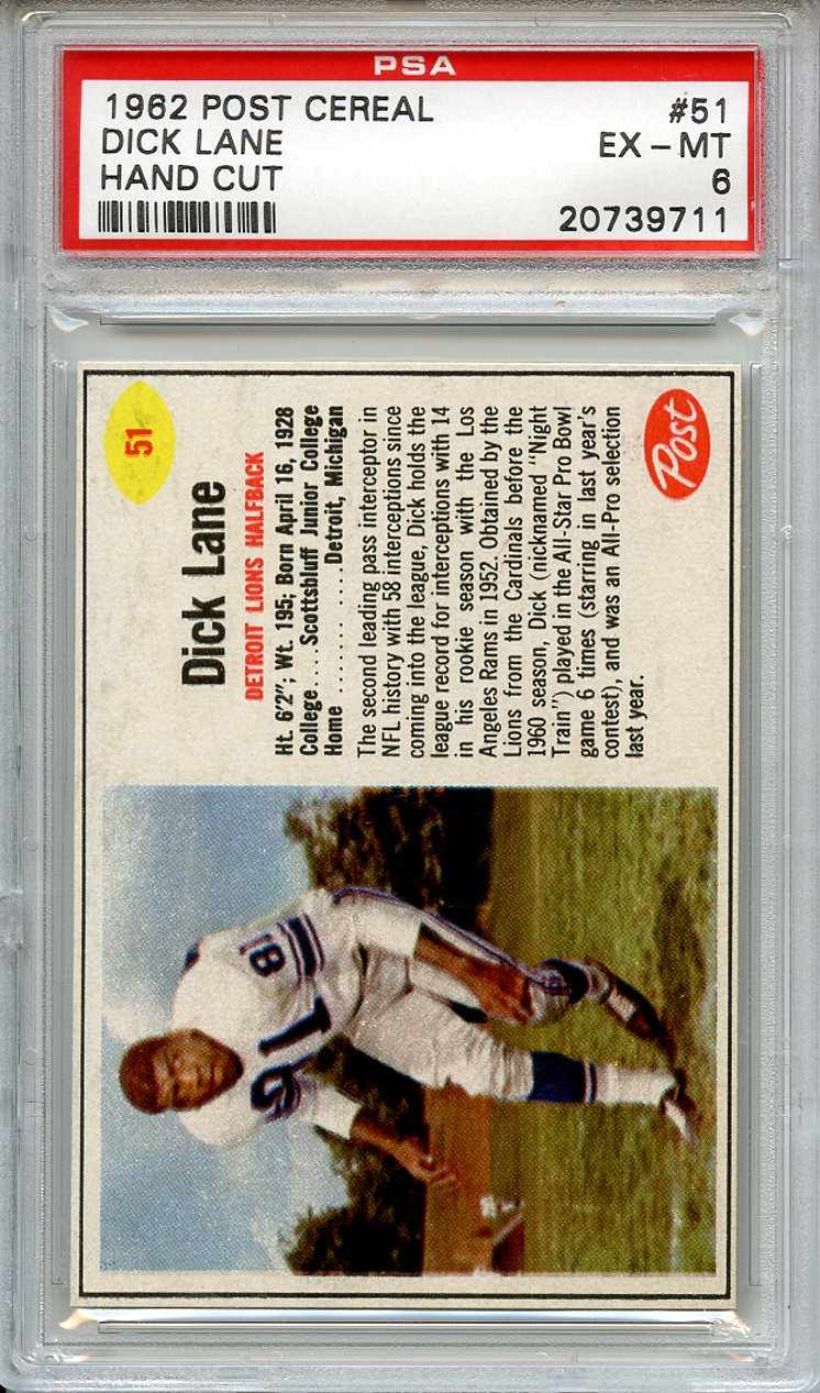 1962 Post Cereal #51 Dick Lane Detroit Lions PSA 6