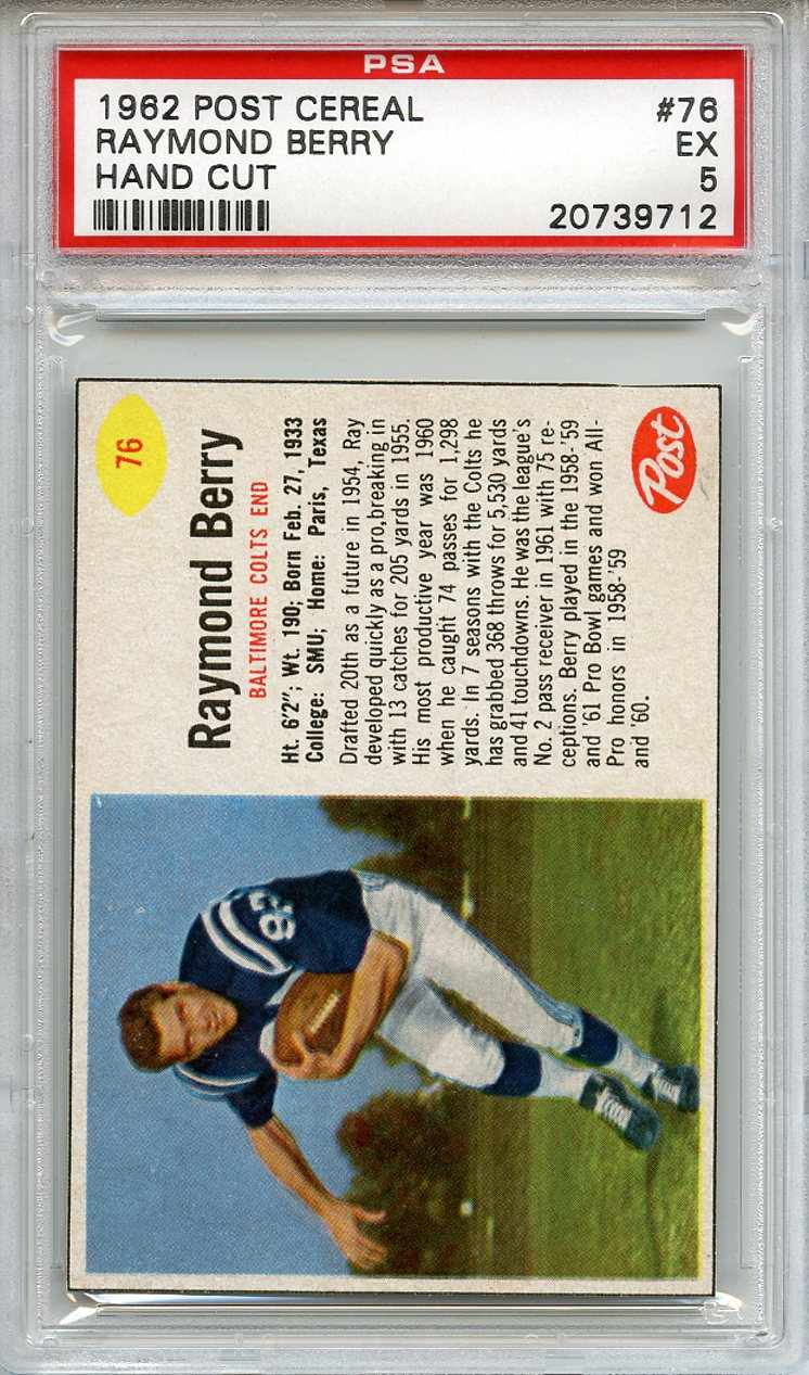 1962 Post Cereal #76 Raymond Berry Baltimore Colts PSA 5