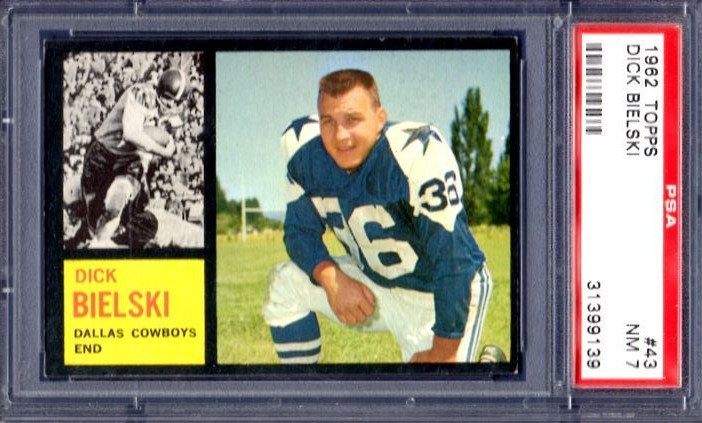 1962 Topps #43 Dick Bielski Dallas Cowboys PSA 7