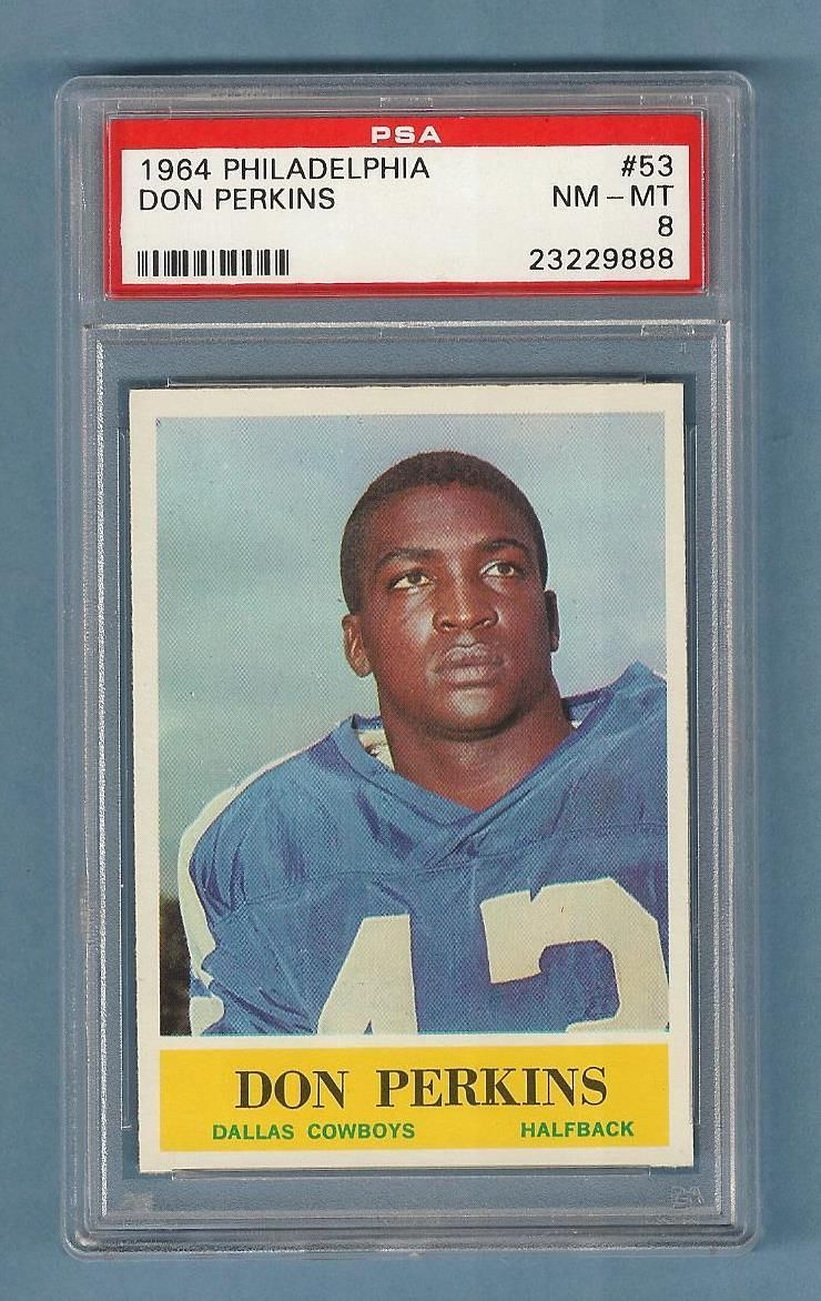 1964 Philadelphia #53 Don Perkins Dallas Cowboys PSA 8