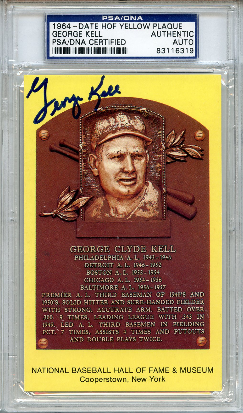 1964 George Kell  Signed HOF Postcard Tigers A's Sox PSA/DNA
