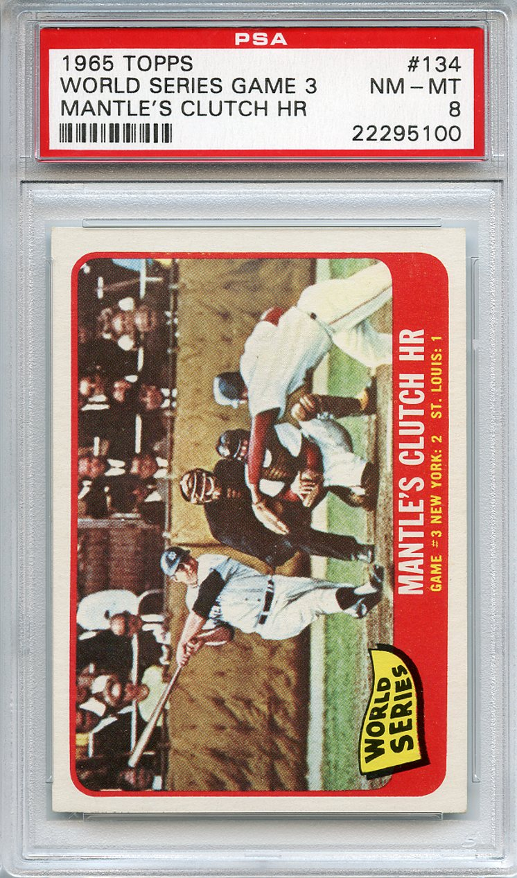 1965 Topps #134 World Series Game 3 Mickey Mantle PSA  8