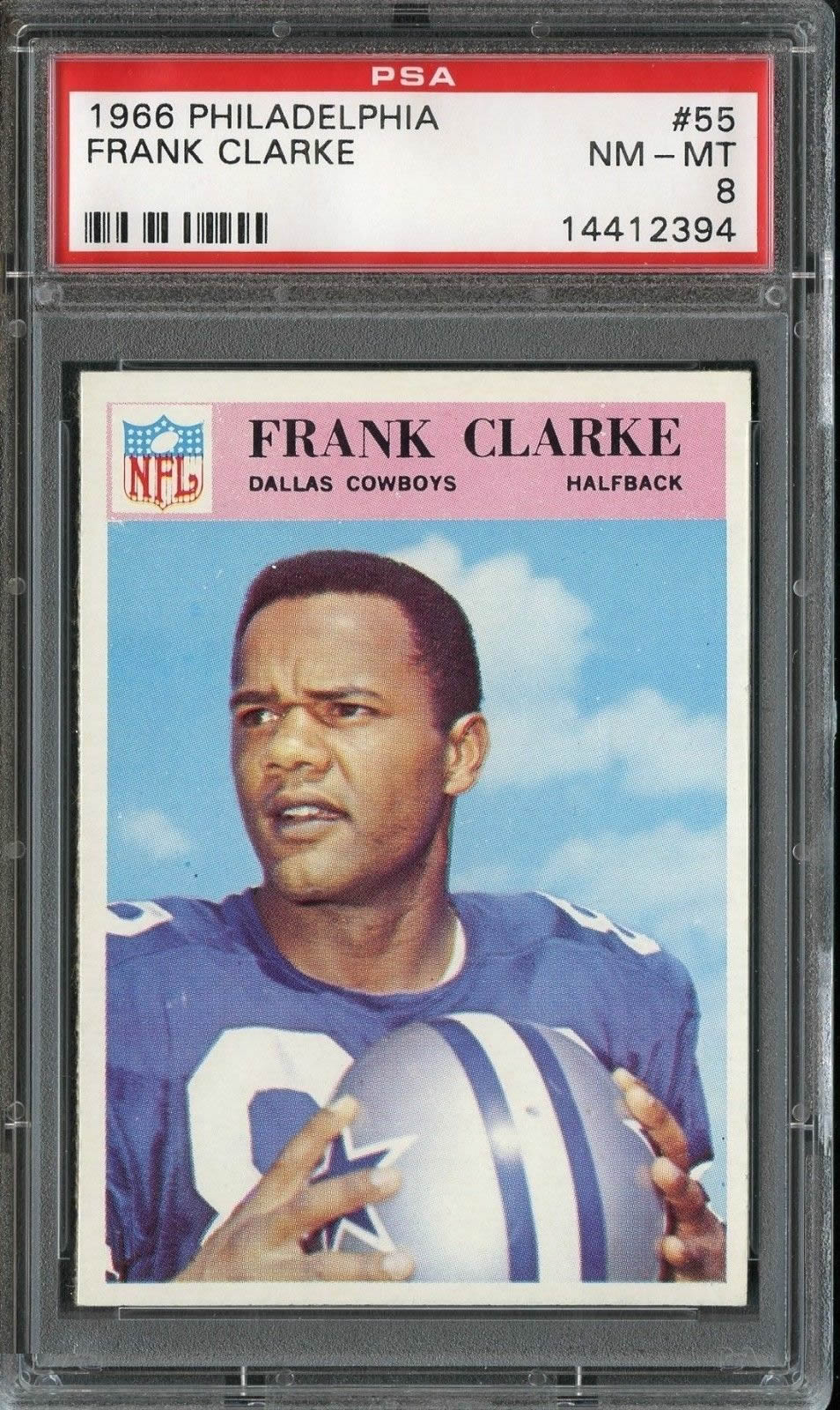 1966 Philadelphia #55 Frank Clarke Dallas Cowboys PSA 8