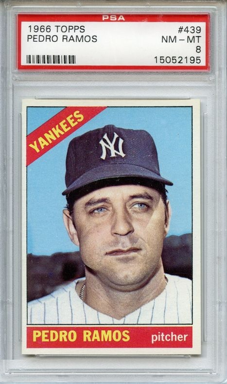 1966 Topps #439 Pedro Ramos New York Yankees PSA 8