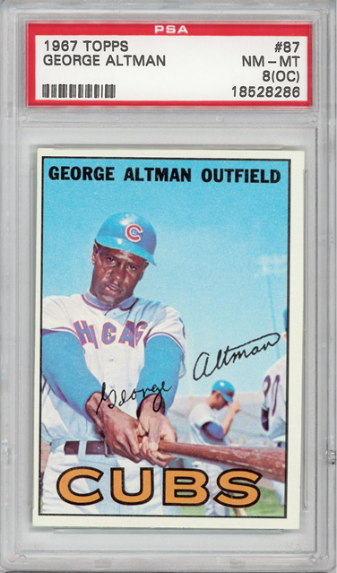 1967 Topps #87 George Altman Chicago Cubs PSA 8oc