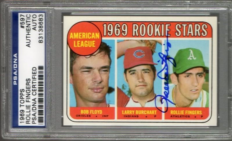1969 Rollie Fingers TOPPS #597  Rookie Autograph