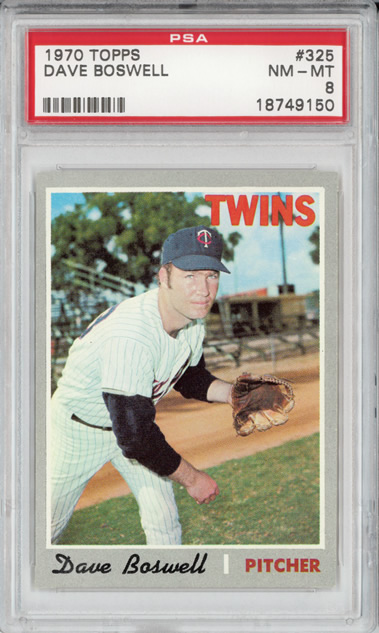 1970 Topps #325 Dave Boswell Minnesota Twins PSA 8