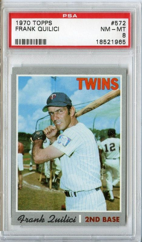 1970 Topps #572 Frank Quilici Minnesota Twins PSA 8