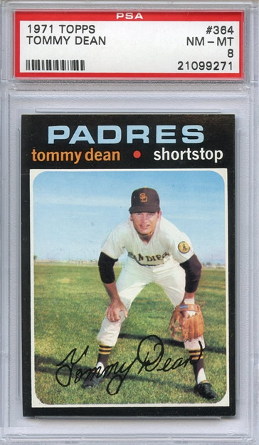 1971 Topps #364 Tommy Dean San Diego Padres PSA 8