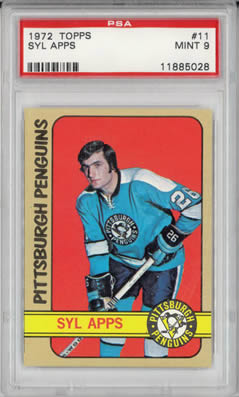 1972 Topps #11 Syl Apps Pittsburgh Penguins PSA 9