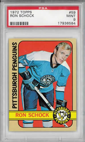 1972 Topps #59 Ron Schock Pittsburgh Penguins PSA 9