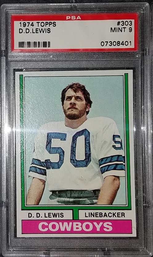 1974 Topps #303 D.D Lewis Dallas Cowboys RC Rookie PSA 9