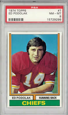 1974 Topps #7 Ed Podolak Kansas City Chiefs Iowa Hawkeyes PSA 8