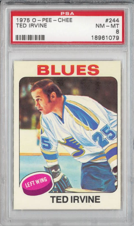1975 O-Pee-Chee #244 Ted Irvine St. Louis Blues  PSA 8