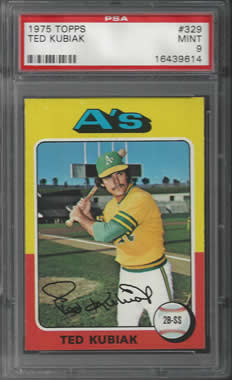 1975 Topps #329 Ted Kubiak Oakland A's Athletics PSA 9