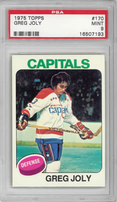 1975 Topps #170 Greg Joly Washington Capitals PSA 9