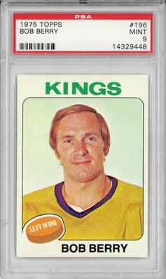 1975 Topps #196 Bob Berry Los Angeles Kings PSA 9