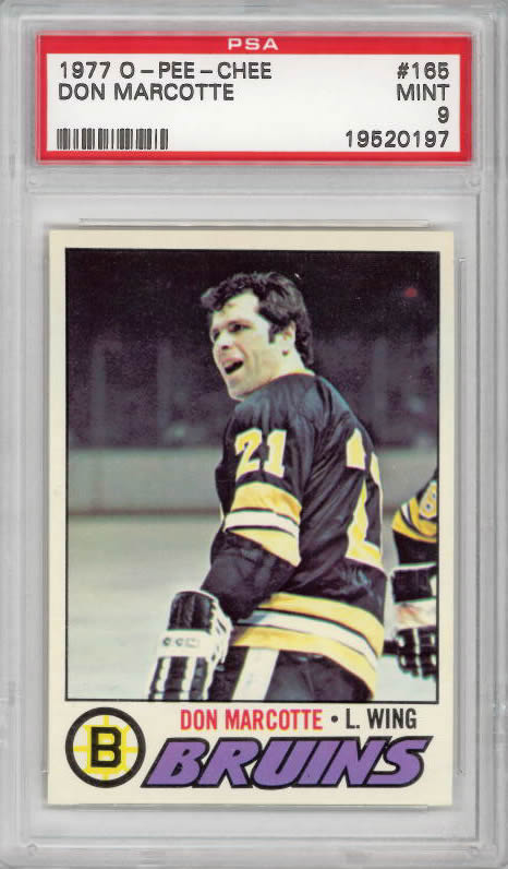 1977 O-Pee-Chee #165 Don Marcotte Boston Bruins PSA 9