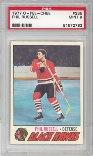 1977 O-Pee-Chee #235 Phil Russell Chicago Black Hawks PSA 9