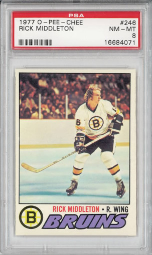 1977 O-Pee-Chee #246 Rick Middleton Card Boston Bruins PSA 8