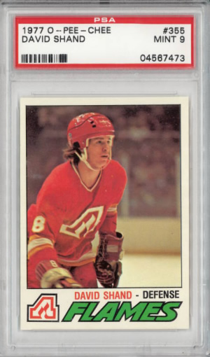 1977 O-Pee-Chee #355 David Shand Calagary Flames Set Break PSA 9