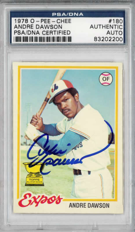 1978 Andre Dawson O-Pee-Chee  #180 Expos Cubs Autograph