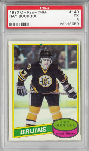 1980 O-Pee-Chee #140 Ray Bourque Rookie RC Boston Bruins PSA 5