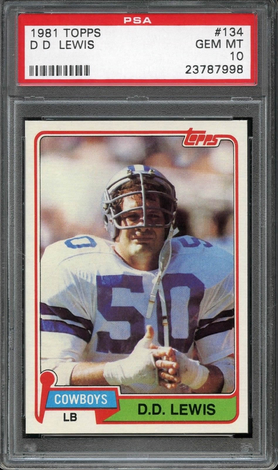 1981 Topps #134 D.D Lewis Dallas Cowboys PSA 10 Low POP