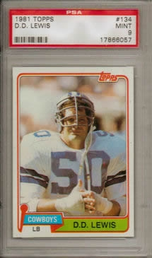 1981 Topps #134 D.D. Lewis Dallas Cowboys PSA 9