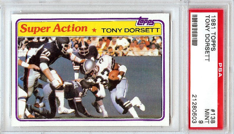 1981 Topps #138 Tony Dorsett Super Action Dallas Cowboys PSA 9