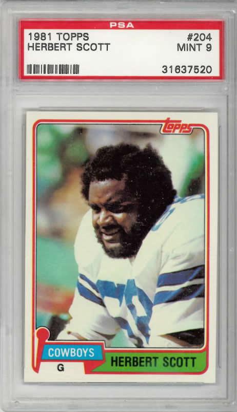 1981 Topps #204 Herbert Scott Dallas Cowboys PSA 9