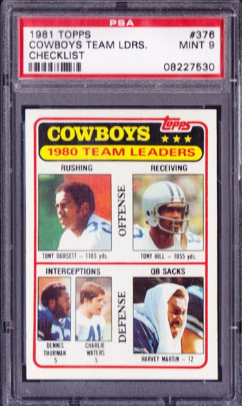 1981 Topps #376 Tony Dorsett Team Ldrs Dallas Cowboys PSA 9