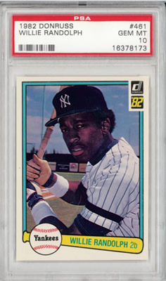 1982 Donruss #461 Willie Randolph New York Yankees PSA 10
