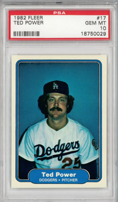 1982 Fleer #17 Ted Power Los Angeles Dodgers PSA 10