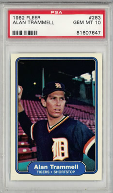 1982 Fleer #283 Alan Trammell Detroit Tigers PSA 10