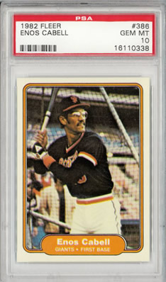 1982 Fleer #386 Enos Cabell San Fransisco Giants Pop 3 PSA 10