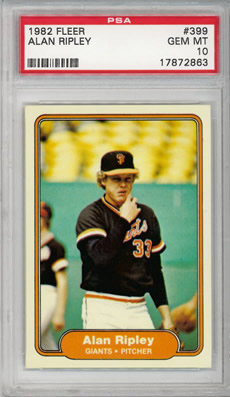 1982 Fleer #399 Alan Ripley San Fransisco Giants PSA 10