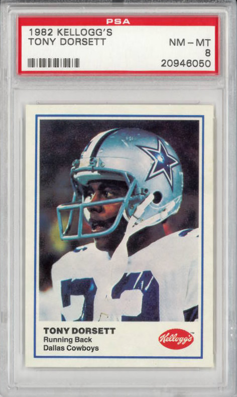 1982 Kelloggs Tony Dorsett Dallas Cowboys PSA 8