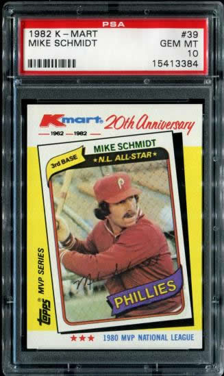 1982 Kmart #39 Mike Schmidt Philadelphia Phillies PSA 10